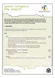 Sjekkliste - overtagelse av bolig - vanlige feil