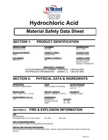 Hydrochloric Acid - KA Steel Chemicals