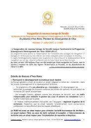 Inauguration du nouveau barrage de Venette - Conseil général de l ...
