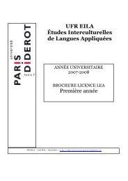 Première année UFR EILA Études Interculturelles de Langues ...