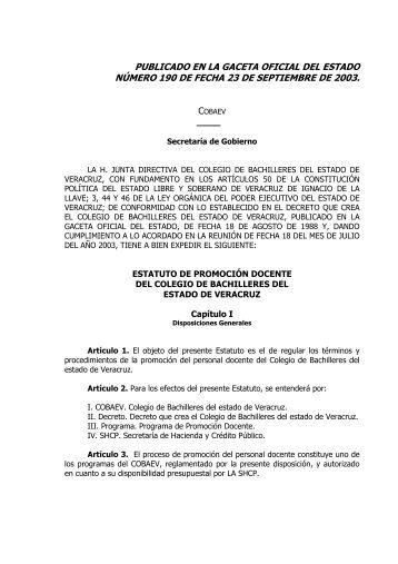 59.- estatuto de promocion docente del colegio de bachilleres del ...