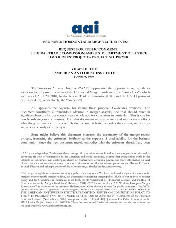AAI Comments on Horizontal Merger Guidelines ...
