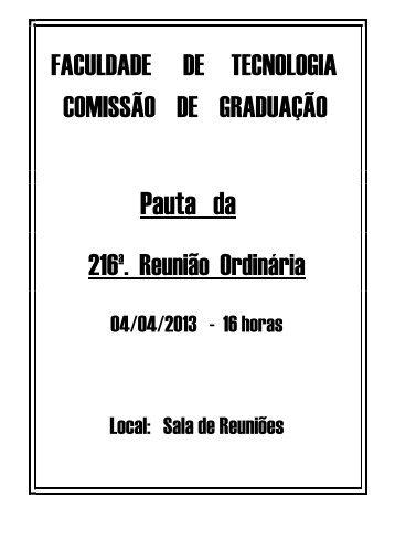 Reunião Ordinária - Faculdade de Tecnologia - Unicamp
