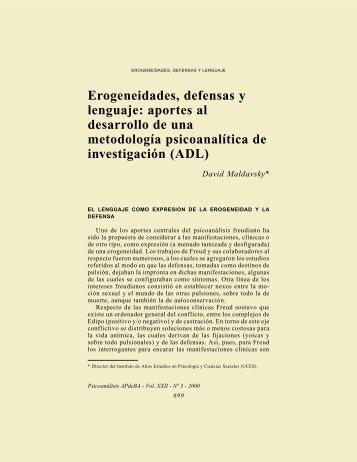 Erogeneidades, defensas y lenguaje - Asociación Psicoanalítica de ...