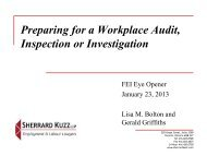 Preparing for a Workplace Audit, Inspection or ... - FEI Canada