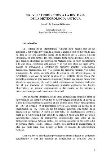 breve introducción a la historia de la meteorología ... - Divulgameteo