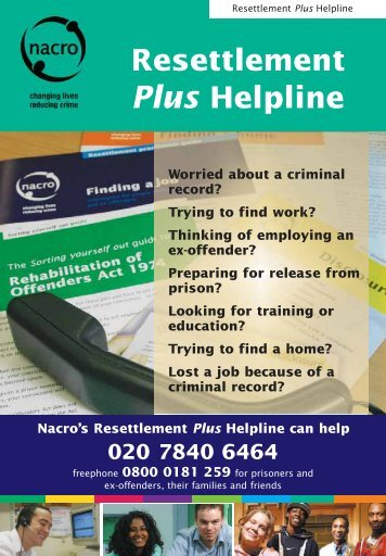 Resettlement Plus Helpline 020 7840 6464 - Nacro