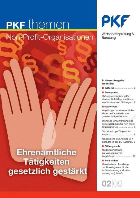 Ausgabe 02|09 Ehrenamtliche Tätigkeiten gesetzlich gestärkt - PKF