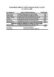 raspored obrana diplomskog rada na fpz 23. lipnja 2008. kandidat ...