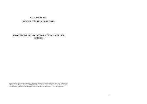 Brochure sur la procédure d'intégration dans les ... - Concours ATS