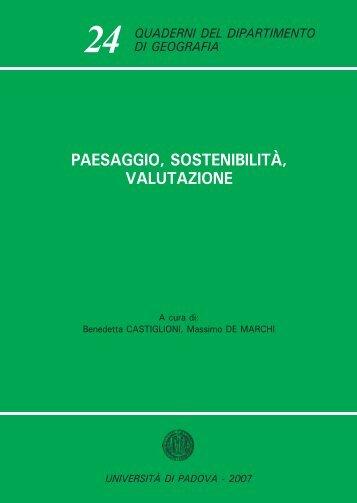 paesaggio, sostenibilità, valutazione - Università degli Studi di Padova