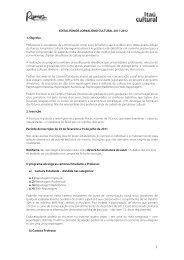 Edital Rumos de Jornalismo Cultural 2011-2012 - Itaú Cultural
