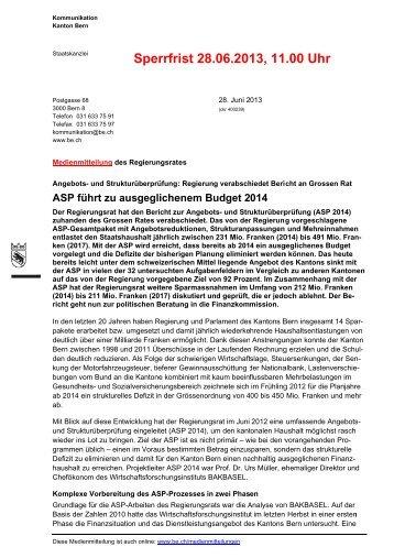 Medienmitteilung des Regierungsrates - Berner Konferenz für ...