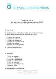 aktuelle Tagesordnung für die JHV 2012 - tennis club dornbirn