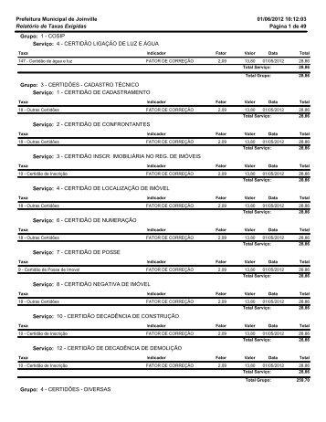 01/06/2012 10:12:03 Página 1 de 49 Relatório de Taxas Exigidas ...
