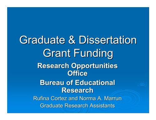 Doctoral dissertation assistance grant