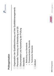 Prüforganisation Organisation der Qualitätssicherung und des ...