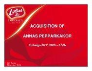 Presentation acquisition of Annas Pepparkakor - Lotus Bakeries