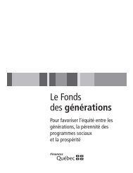 Le Fonds des générations - Budget - Gouvernement du Québec