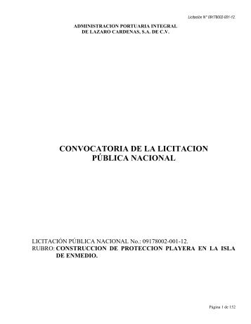 convocatoria de la licitacion pública nacional - Puerto Lázaro ...
