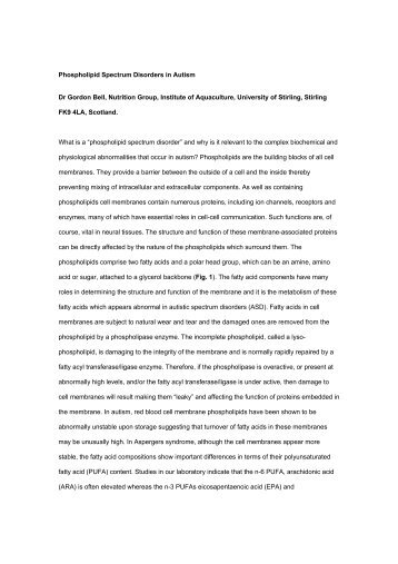 Phospholipid Spectrum Disorders in Autism Dr Gordon Bell ...