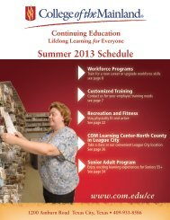 Summer 2013 Schedule - College of the Mainland