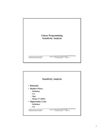 LP Sensitivity Analysis