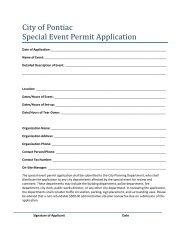 City of Pontiac Special Event Permit Application