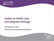Health Link and Central East LHIN Integration Update