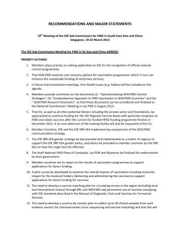 RECOMMENDATIONS AND MAJOR STATEMENTS - OIE Asia-Pacific