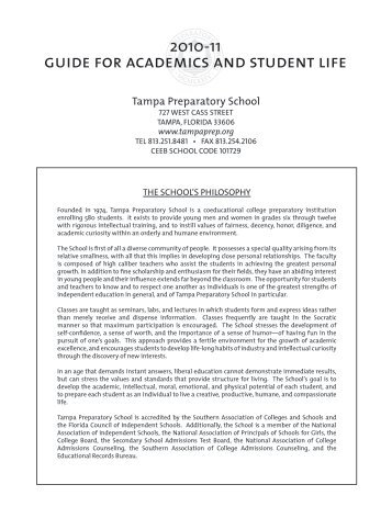 guide for academics and student life - Tampa Preparatory School