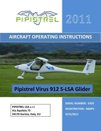 Pipistrel Virus Aircraft Operating Instruction - Salsa Aviation