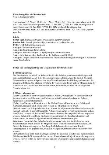 HKM: Verordnung über die Berufsschule