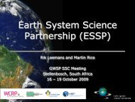 ESSP activities related to the GWSP