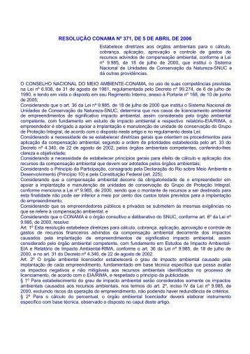 RESOLUÇÃO CONAMA Nº 371, DE 5 DE ABRIL DE 2006 - ICMBio