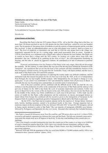 1 Globalisation and urban violence - Núcleo de Estudos da ...