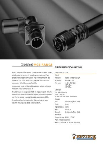 CONNECTORS MC4 RANGE - Servo and Electronic Sales Ltd