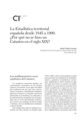 La Estadística territorial española desde 1845 a 1900. - Catastro