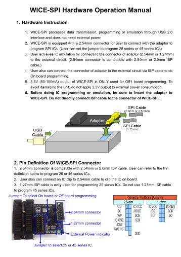 WICE-SPI Hardware Operation Manual Eng 20100406