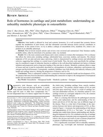 Role of hormones in cartilage and joint metabolism ... - Molepi.nl
