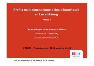 Claude Houssemand et Raymond Meyers Université du ... - Freref