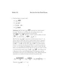 Math 171 Review for the Final Exam