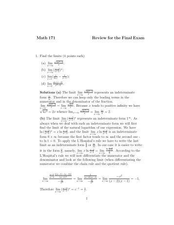 Final review math 105