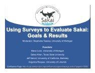 Using Surveys to Evaluate Sakai: Goals & Results - CTools