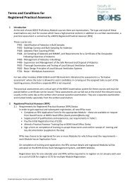 Requirements for Conducting Practical Assessments - BOHS