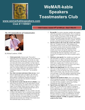 WeMAR-kable Speakers Toastmasters Club