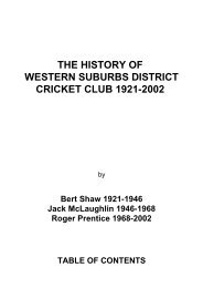 the history of western suburbs district cricket club 1921-2002