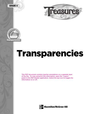 Transparencies - Treasures - Macmillan/McGraw-Hill