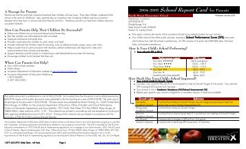 School Report Card - Southstreetelem.slp.k12.la.us