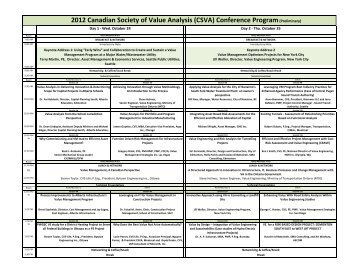 (CSVA) Conference Program(Preliminary) - SCAV-CSVA